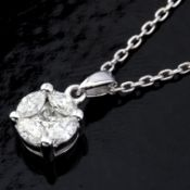 14 kt. White gold - Necklace with pendant - 0.33 ct Diamond