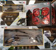 7 items 2 x red5 gyro flyer xl helicopter, 2 x red5 x-knight v2 extreme speed buggy, 2 x red5 amp