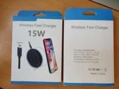 2 x Brand New Super Fast 15W Wireless Charger for Apple Samsung Huawei LG etc RRP£50