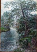Flickel, Paul, am Fluß, 1902, Öl, 66 x 47, sig (Ahrenshoop)
