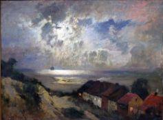 Douzette, Louis, Abend am Meer, Öl, 74 x 98, signiert