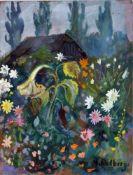 Dolberg, Helene, Blumengarten, Gouache, 33 x 25, signiert