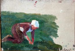 Büchsel, Elisabeth, Feldarbeit, Öl, 15 x 21, signiert