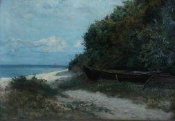 Bunke, Franz, Boote am Ufer, Öl, 42 x 61, signiert