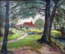 Facklam, Wilhelm, Blick auf Schwaan, Öl, 60 x 80, signiert