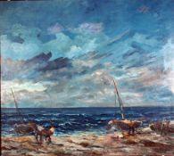 Beyer, Tom, Fischer a Rügen, Öl, 71 x 81, sig, (Rügen)