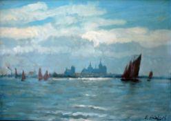Büchsel, Elisabeth, Ansicht Stralsund, Öl, 33 x 46, sig