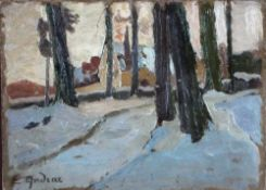 Andrae, Elisabeth, Winter, signiert, Öl, 16 x 22 cm