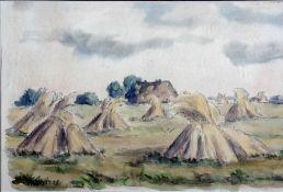 Andrae, Elisabeth, Kornhocken, sign., Aquarell, 28 x 41 cm