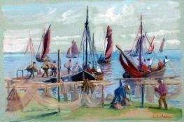 Arnheim, Clara, Fischerboote vor Hiddensee, sign., Pastell, 21 x 30 cm