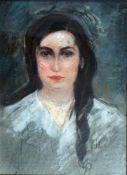 Julie Wolfthorn, Portraitskizze einer jungen Frau, Mischt., 42 x 30, monogr.