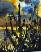 Fink, Günter, Ufergras, Aqua, 59 x 48, signiert, (Hiddensee)