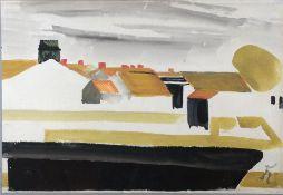 Kinder, Hans, über den Dächern, mg. 31 x 46 Aqua