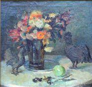 Groppe, Johanna L.,. Stillleben m. Hühnern, sign 57 x 60 Öl