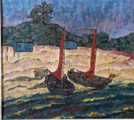 Manigk, Otto, Boote am Strand, monog. 32 x 36 Öl