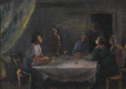 Holtz-Sommer, Hedwig, am Tisch, mg, 1949 33 x 47 Öl