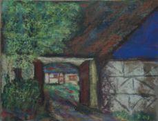 Koch-Stetter, Dora, Einfahrt (Ahrenshoop), mg., 20 x 26, Kreide