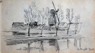 Douzette, Louis, Mühle, Barth, sign. 11 x 20 Blei