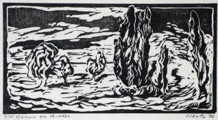 Klatte, Ruth, am Bodden, sign., 20 x 40, Holzschn.