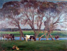 Frenzel, Oskar. Kühe auf dem Darß, sign. 60 x 80 Öl