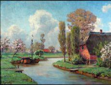 Lyongrün, Arnold Am Kanal, sign. 35 x 48 Öl