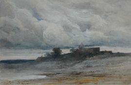 Müller-Kurzwelly, A Gehöft am Meer, sign. 25 x 37 Aqua