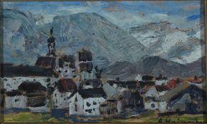 Heinsohn, Alfred In den Alpen, signiert 12 x 20 Öl