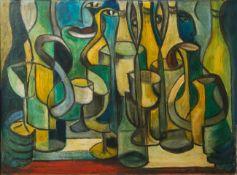 Bumb, M. (20. Jahrhundert), abstrakte Darstellung von Personen m. Flaschen,