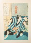 Unbekannter Künstler (Japan, wohl 18./19. Jahrhundert), japanischer Holzschnitt, im Bild