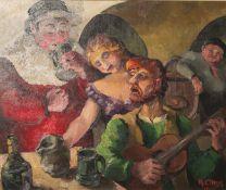 Claus, A. (20. Jahrhundert), eine lustige Karnevalsgesellschaft, Öl/Malpappe, re. u. sign.