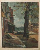 Unbekannter Künstler (wohl 19./20. Jahrhundert), abstrakt gemalte Landschaft, Öl auf
