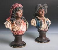 2 Figurenbüsten (wohl Italien, um 1900), Terracotta, Darstellung einer Spanierin u. eines
