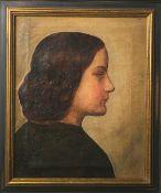 Unbekannter Künstler (wohl 19. Jahrhundert), Porträt einer jungen Dame, Öl auf Leinwand,