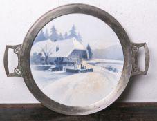 Kuchenplatte aus Keramik (Villeroy u. Boch, Dresden, braune Unterbodenmarke, Jugendstil,