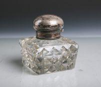 Altes Tintenfass (wohl 19. Jahrhundert), farbloses Glas mit Deckel aus Silber 800