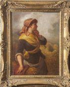 Walker, E. (19. Jahrhundert), junges Bauernmädchen m. Ährengabe vor Getreidefeld, Öl/Lw.,