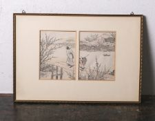 Altkolorierter Holzschnitt (wohl Japan, 18./19. Jahrhundert), wohl 2-teilig, je ca. 17 x