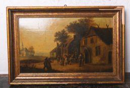 David Teniers III. (1638 - 1685), Darstellung eines tanzenden Bauernvolkes, Öl/Holztafel,