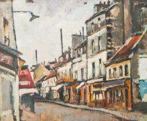 Unbekannter Künstler (wohl 20. Jahrhundert), abstrakt gemalte Straßenszene (wohl