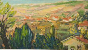 Hück, I. wohl (20. Jahrhundert), weite sommerliche Landschaft, Öl auf Sperrholzplatte,
