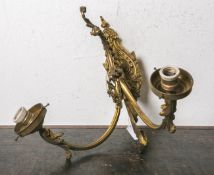 2-armiger Wandleuchter (Jugendstil, um 1900), Bronze feuervergoldet, Blumen- u.