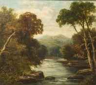 Unbekannter Künstler (19./20. Jahrhundert), Landschaftsdarstellung m. einem im Wasser