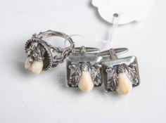 Grandelschmuck 835 Silber, 3-teilig, bestehend aus: 2x Manschettenknöpfe u. 1x Ring,
