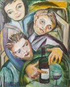 Marianna (20. Jahrhundert), Darstellung von 3 Personen m. einer Weinflasche u. Gläsern,