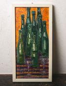 Marianna (20. Jahrhundert), Stillleben m. Flaschen u. Gläsern, Öl/Pressholzplatte, li. u.