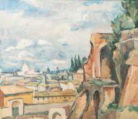 Unbekannter Künstler (19./20. Jahrhundert), Ansicht von Rom, Öl/Papier, ca. 35 x 40 cm,