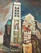 Unbekannter Künstler (19./20. Jahrhundert), abstrakt gemalte Ortsansicht m. Kirchturm,