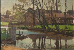 Roman, Wilhelm Max (1849 - 1910), Auenlandschaft m. Bauernhäusern, Öl/Malkarton, re. u.