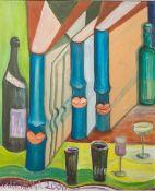 Marianna (neuzeitlich), Stillleben m. Büchern, Gläsern u. einer Flasche, Öl/Platte, li. u.