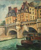 Unbekannter Künstler (19./20. Jahrhundert), Stadtansicht m. einer Brücke über einen Kanal,